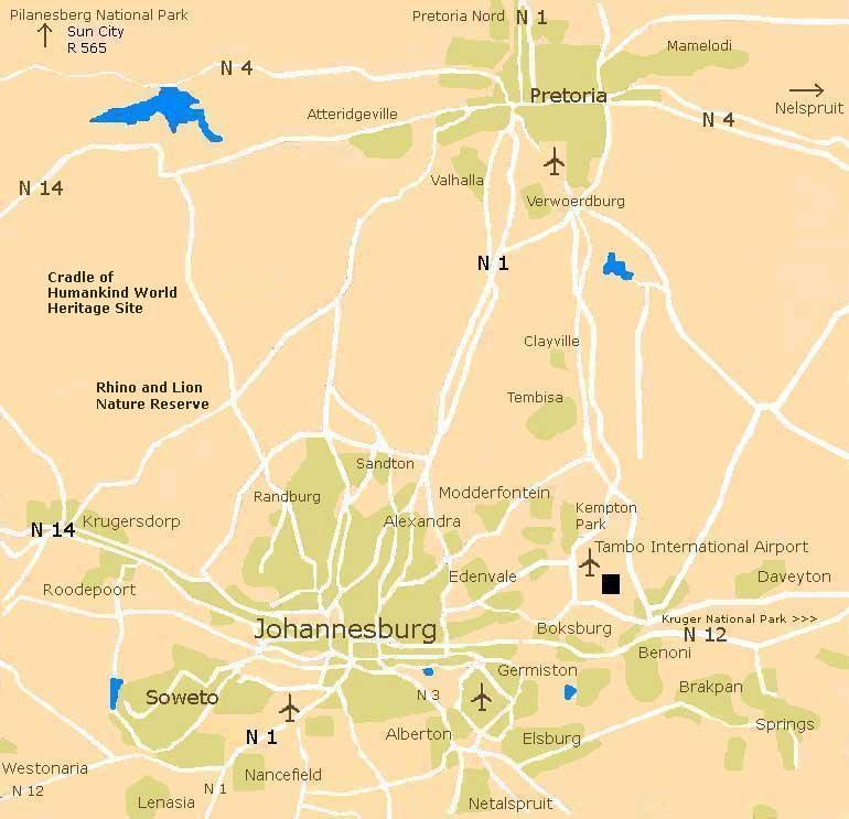 Cradle of Humankind World Heritage Site Map und Karte Rhino and Lion Nature Reserve bei Krugersdorp am Rande von Johannesburg